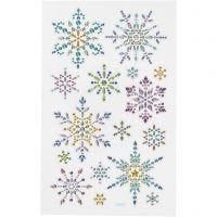 Diamond stickers, snowflakes, 10x16 cm, 1 sheet
