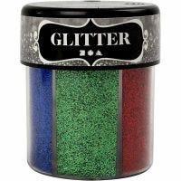 Glitter, assorted colours, 6x13 g/ 1 tub