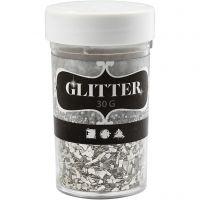 Glitter, size 1-3 mm, silver, 30 g/ 1 tub