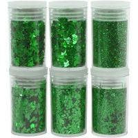 Glitter and Sequin, green, 6x5 g/ 1 pack
