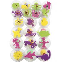 Foam Stamps With Handle, D: 4-6 cm, 20 pc/ 1 pack