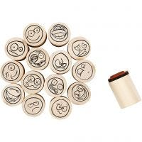 Deco Art Stamps, smiley, H: 26 mm, D: 20 mm, 15 pc/ 1 pack