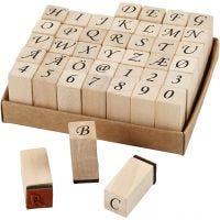Wooden Stamps Set, H: 30 mm, size 13x13 mm, 42 asstd./ 1 set