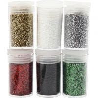 Glitter, assorted colours, 6x5 g/ 1 pack