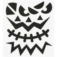 Stickers, halloween - big faces, 15x16,5 cm, 1 sheet