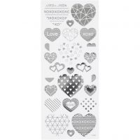 Stickers, hearts, 10x24 cm, silver, 1 sheet