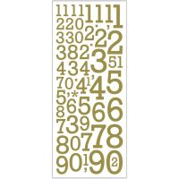 Glitter Stickers, numbers, 10x24 cm, gold, 2 sheet/ 1 pack