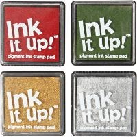Ink pads, size 40x40 mm, christmas colours, 4 pc/ 1 pack