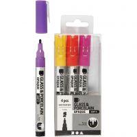 Glass & Porcelain Pens, line 1-2 mm, semi opaque, orange, purple, light red, yellow, 4 pc/ 1 pack