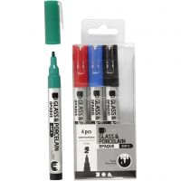 Glass & Porcelain Pens, line 1-2 mm, semi opaque, black, blue, green, red, 4 pc/ 1 pack