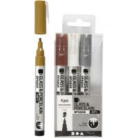 Glass & Porcelain Pens, line 1-2 mm, semi opaque, brown, gold, silver, white, 4 pc/ 1 pack