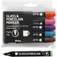 Glas- og porcelænstusch, line 1-3 mm, semi opaque, additional colours, 6 pc/ 1 pack