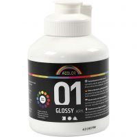 School acrylic paint glossy, glossy, white, 500 ml/ 1 bottle