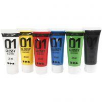School acrylic paint glossy, glossy, standard colours, 6x20 ml/ 1 pack