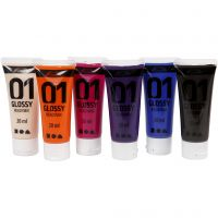 School acrylic paint glossy, glossy, additional colours, 6x20 ml/ 1 pack