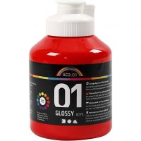 School acrylic paint glossy, glossy, red, 500 ml/ 1 bottle