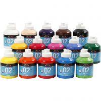 School acrylic paint matte, matt, assorted colours, 15x500 ml/ 1 box