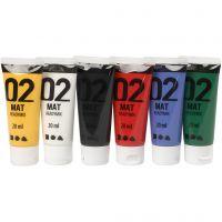 School acrylic paint matte, matt, standard colours, 6x20 ml/ 1 pack