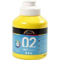 School acrylic paint matte, matt, primary yellow, 500 ml/ 1 bottle