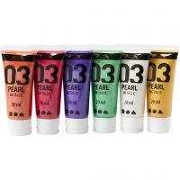 Skole akrylmaling metallic, metallic, additional colours, 6x20 ml/ 1 pack