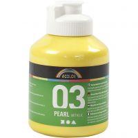 Skole akrylmaling metallic, metallic, yellow, 500 ml/ 1 bottle