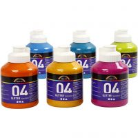 School acrylic paint glitter, glitter, assorted colours, 6x500 ml/ 1 box