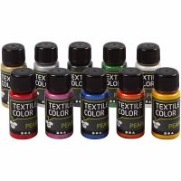 Textile Color Paint, mother of pearl, assorted colours, 10x50 ml/ 1 pack