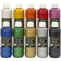 Textile Color Paint, mother of pearl, assorted colours, 10x250 ml/ 1 pack