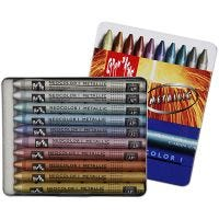 Neocolor I Crayons, L: 10 cm, thickness 8 mm, metallic colours, 10 pc/ 1 pack
