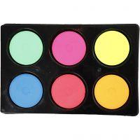 Watercolour, H: 16 mm, D: 44 mm, neon colours, 1 set