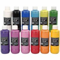 Textile Solid, opaque, assorted colours, 12x250 ml/ 1 pack