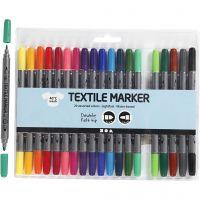 Textile Markers, line 2,3+3,6 mm, standard colours, 20 pc/ 1 pack
