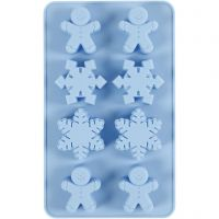 Silicone mould, ice crystals and cookie men, H: 2,5 cm, L: 24 cm, W: 14 cm, hole size 30x45 mm, 12,5 ml, 1 pc/ 1 pack