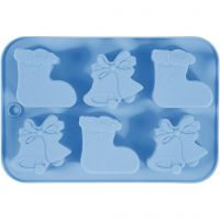 Silicone mould, christmas stockings and bells, hole size 60x75 mm, 12,5 ml, 1 pc/ 1 pack