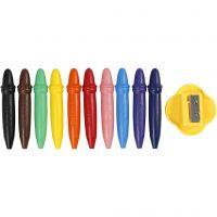 Wax Crayons, L: 7 cm, D: 11 mm, 10 pc/ 1 pack