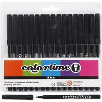 Colortime Marker, line 2 mm, black, 18 pc/ 1 pack