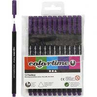 Colortime Fineliner, line 0,6-0,7 mm, purple, 12 pc/ 1 pack