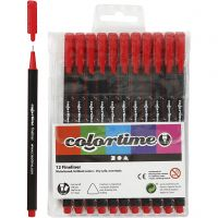 Colortime Fineliner, line 0,6-0,7 mm, red, 12 pc/ 1 pack