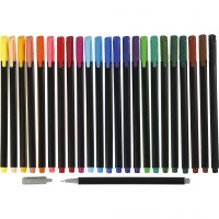 Colortime Fineliner, line 0,6-0,7 mm, assorted colours, 24 pc/ 1 pack