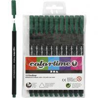 Colortime Fineliner, line 0,6-0,7 mm, dark green, 12 pc/ 1 pack