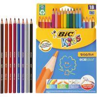 Evolution Colour Pencils, Hexagonal, L: 17,5 cm, lead 3 mm, assorted colours, 18 pc/ 1 pack