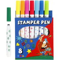 Stamp Markers, assorted colours, 8 pc/ 1 pack