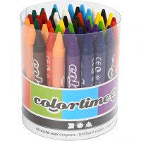 Colortime Wax Crayons, L: 10 cm, thickness 11 mm, assorted colours, 48 pc/ 1 pack