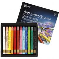 Watercolor Crayons, L: 9,3 cm, assorted colours, 12 pc/ 1 pack