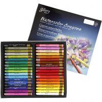 Watercolor Crayons, L: 9,3 cm, assorted colours, 36 pc/ 1 pack