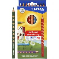 Groove Colouring Pencils, L: 18 cm, lead 4.25 mm, assorted colours, 10 pc/ 1 pack