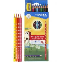 Groove Slim Colouring Pencils, L: 18 cm, lead 3,3 mm, assorted colours, 12 pc/ 1 pack