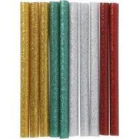 Glue Gun Sticks, L: 10 cm, glitter, gold, green, red, silver, 10 pc/ 1 pack