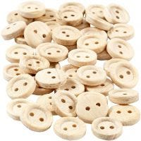 Wooden Buttons, D: 11 mm, 2 holes, 50 pc/ 1 pack