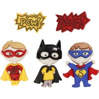 Novelty Buttons, by my superhero, H: 14-32 mm, W: 18-21 mm, 5 pc/ 1 pack